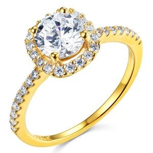 14K Yellow Square Halo 1.25CT Round-Cut CZ Ring